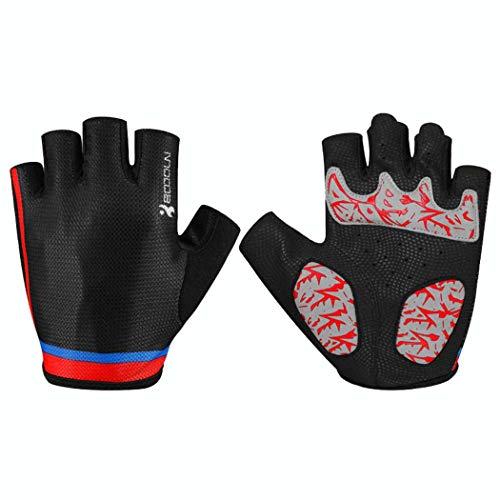 MISS&YG Fahrhandschuhe atmungsaktive Rutschfeste Bequeme Straße Bergreitens Halfinger Handschuhe,blackandred,XL