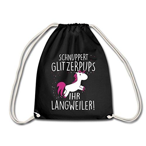 Einhorn-Schnuppert-Glitzerpups-Spruch-Turnbeutel-von-Spreadshirt-Schwarz