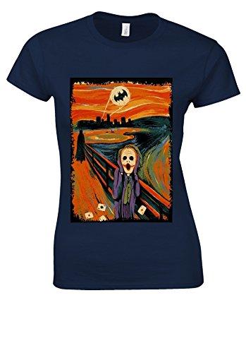 The Scream Joker Batman Heath Ledger Novelty Navy Women T Shirt Top-L