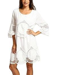 Zolimx Ropa Mujer Vestidos Mujer Sexy Elegante Verano 2018, Vestidos Largos Moda Tallas Grandes Encaje Blanco Bordado Hueco-hacia…