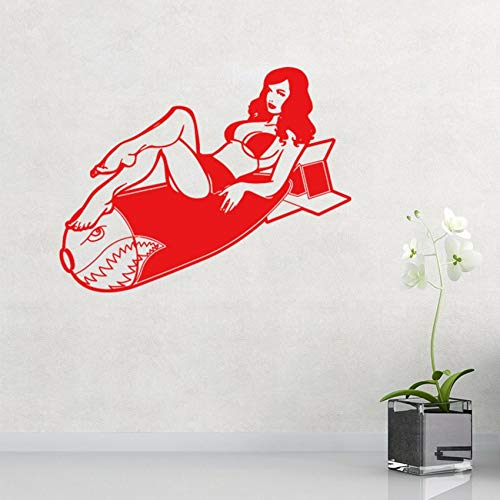nlichkeit Pin Up Vintage Burlesque Girl Aufkleber Wandaufkleber Coole Grafiken Rot ()