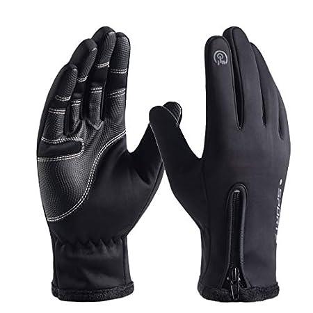 UFODB Unisex Herren Damen Handschuhe Winter Dicke Warme Leder Outdoor Sports Waterproof Touchscreen Casual Handschuh Fingerhandschuhe Gloves Sporthandschuhe Lederhandschuhe