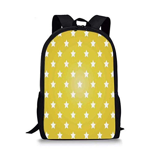 HOJJP Rucksack Astrology Stylish School Bag,Aquarius Lady with Pail in The Sea Water Signs Saturn Mystry at Night Stars Decorative for Boys,11\'\'L x 5\'\'W x 17\'\'H