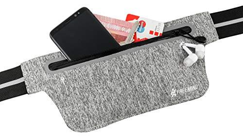 freemind extra Flacher Laufgürtel Bauchtasche Hüfttasche - Mitnahme von Handy, Schlüssel & Geld - 2 Fächer - für Samsung I-Phone unter 5,8 Zoll - Jogging, Fitness, Fahrrad Fahren