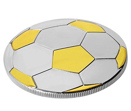 Moneta Calcio- 3-D-Placcato in Oro 24 Carati 99,9% e Argento-28 grammi-4,0 cm Monete-Medaglia Calcio-Trofeo Calcio-Oggetto da Collezione o Regalo sul Calcio-Sacchetto in Velluto in Regalo GRATUITO