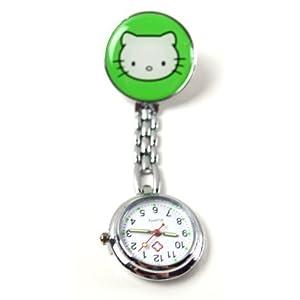 Century Ansteckuhren Klippuhren Bunte Auswahl an Sister Uhren Pulsuhren Schwesternuhren für Pflegekräfte n (Kätzchen grün)