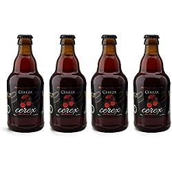 CEREX- Pack Degustación de 4 botellas de Cerveza Artesanal Gourmet de CEREZA. Botellas de 33 cl