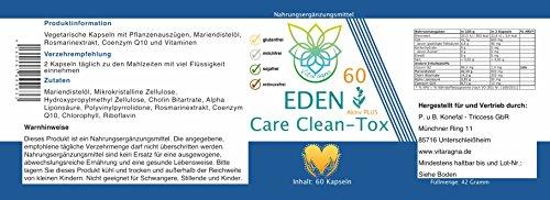 VITARAGNA Eden Care 30-Tage Clean Detox-Kur Plus, Komplex mit Mariendistel-Extrakt, Q10, Cholin, ALA, hochdosiert, natürlich, vegetarisch, vegan, 60 Kapseln