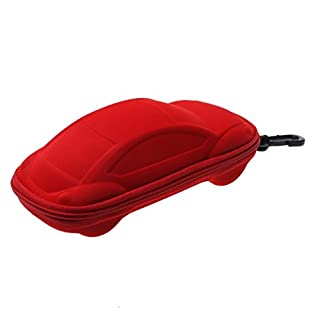A-szcxtop Car Shaped Zippered Spectacles Plain Glasses Box Case(Red)