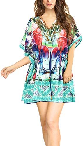 Chiffon Juwel (LA LEELA leichte Chiffon-Kleid Juwel Badeanzug Flügel Kaftan Frauen verschleiern Tops Boho Badeanzug Bluse und lose Badebekleidung Tunika Mehrfarbig)