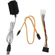 SODIAL(R) Cable adaptador de USB 2.0/1.1 a IDE/SATA sin energia
