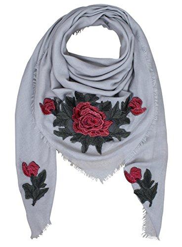 XXL PATCHES ROSE STICKER Damen Schal Tuch Karoschal Halstuch Fashion Plaid Loop Grau