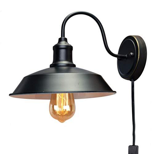 Applique Murale Vintage Industriel Métal Lampe De Mur Noir Lampe Murale  Rétro Intérieur Eclairage Câble Avec