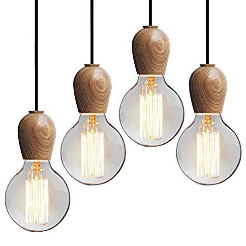 INJUICY Loft Industrie Edison E27 LED Holz Deckenleuchte Anhänger Leuchten Schatten Retro Vintage Deckenleuchte Beschläge für Wohnzimmer Schlafzimmer Esszimmer Cafe Kronleuchter