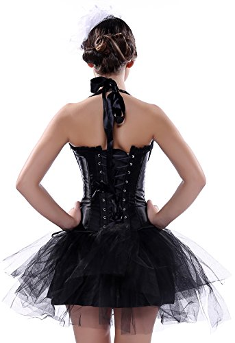 Satin Halter Corsage mit Tutu Rock Korsagenkleid Gothic Petticoat Kleid Schwarz+Q7016Schwarz