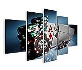 islandburner Bild Bilder auf Leinwand Aces Poker Casino Spielhalle Kartenspiel MF XXL Poster Leinwandbild Wandbild Dekoartikel Wohnzimmer Marke