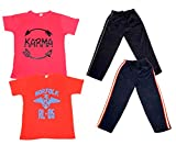 Indiweaves Boys Super Soft Cotton Lower/Track Pants and Half Sleeves Printed T-Shirts Combo (Pack of 2 Lower and 2 T-Shirts)-Red/Red/Black/White-2-3 Y