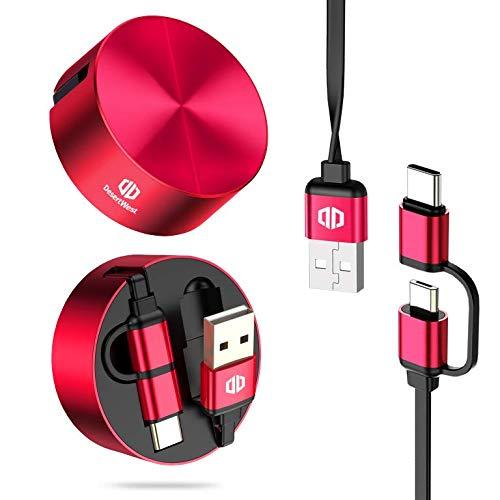Cable USB retráctil, DesertWest 2 en 1 Cable, Cable USB C a USB A + Cable Micro USB compatible con Samsung, Huawei, Xiaomi, Kindle, TCL, Sony, Nexus, Motorola 3.3 pies / 1m, Rojo