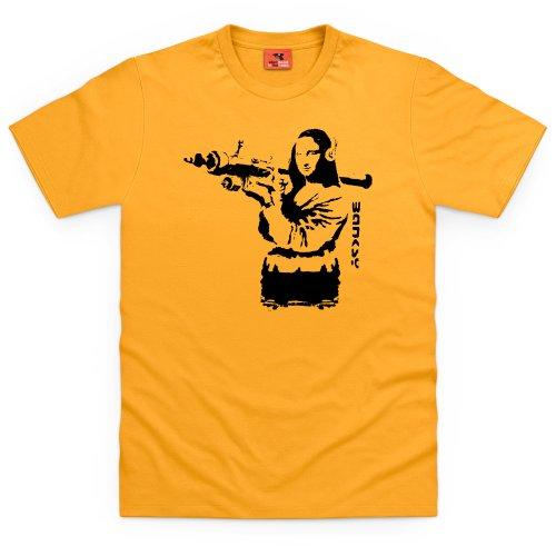 Banksy Mona Lisa T-Shirt, Herren Gelb