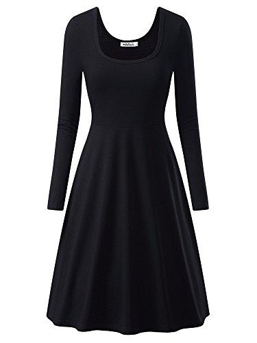 MSBASIC Lady's Long Sleeve Scoop Neck Casual Flared Aline Midi Dress 17146-1, Schwarz, Gr. XL (Scoop Neck Langarm Kleid)