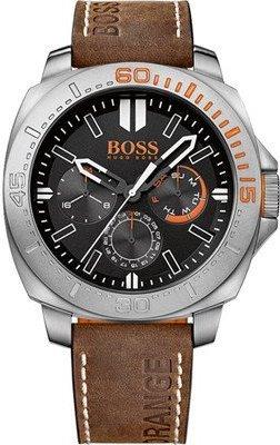 Hugo Boss Orange Herren Braun Leder Armband Edelstahl Gehäuse Datum Uhr 1513297