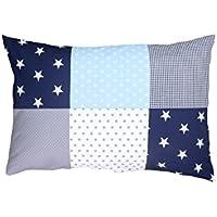 Funda de almohada para bebé de ULLENBOOM ® de 40x60 cm con azul claro azul gris (con cremallera; apta también para cojines decorativos; dibujo:patchwork)