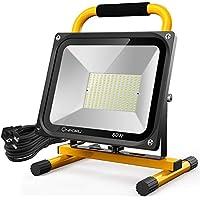 Onforu 80W LED Luz de Trabajo, 7600LM 5000K Foco de Obra con 5M Cable de Alimentación | IP65 Impermeable Reflector Portátil | Igual a 800W Bombilla Halógena | Potente Lámpara Proyector Blanco Frío