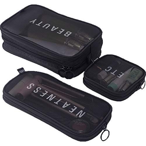 Kulturbeutel Transparent Durchsichtig Kulturtasche Makeup Tasche Kosmetiktasche Set for Reise for MäNner Und Frauen, Multi-GrößEn (Color : Black) -