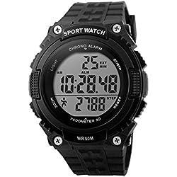 Mens Sports Watch Women Unisex Watch Skmei DG1112 Digital Water Resistant Alarm Chronograph Pedometer Anti Shock Stopwatch by AYKA Solutions