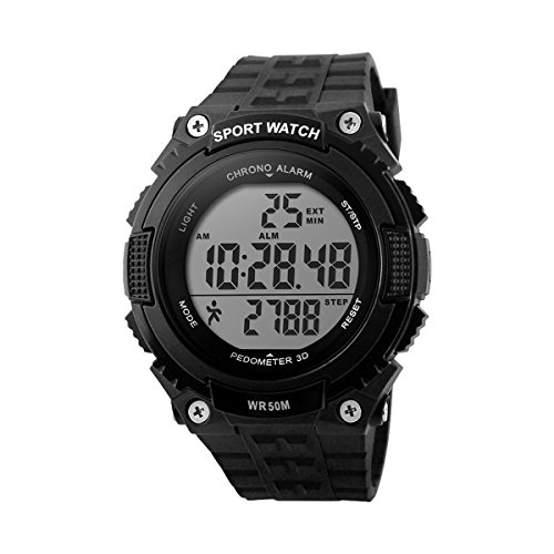 Mens -Sport-Uhr -Frauen Unisex-Uhr Skmei DG1112 Digital Water Resistant Alarm-Chronograph Pedometer Anti Shock Stoppuhr durch AYKA Lösungen