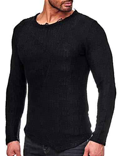 Deep Pullover Shirt Basic Oversize Longshirt Hoody Sommer Baum-Wolle Herren Sweatshirt Sweater Sweat Jacke langes Longsleeve m Kapuzenpullover Langarm Long Jeans Sweatjacke Strick-Pulli (XL, SCHWARZ)