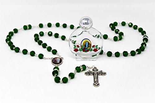 nz Perlen mit Grün Kristall & Swarovski Element Perlen und Lourdes Apparition Mitte, Glas Eine Flasche gefüllt mit Blessed Lourdes Holy Water & Lourdes Gebet Karte ()