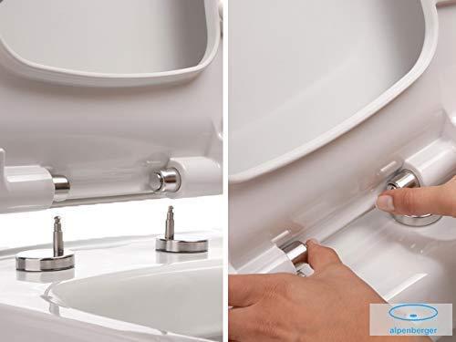 Wand-WC Spülrandlos Weiss Keramik Hänge Toilette inkl. Duroplast WC-Sitz mit Soft-Close Funktion passt zu GEBERIT - 6