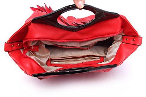 Rosso borse Ragazze PU Borse donna Donna Honeymall Dentellare Fiori Pelle Moda tote qzvwHxpE