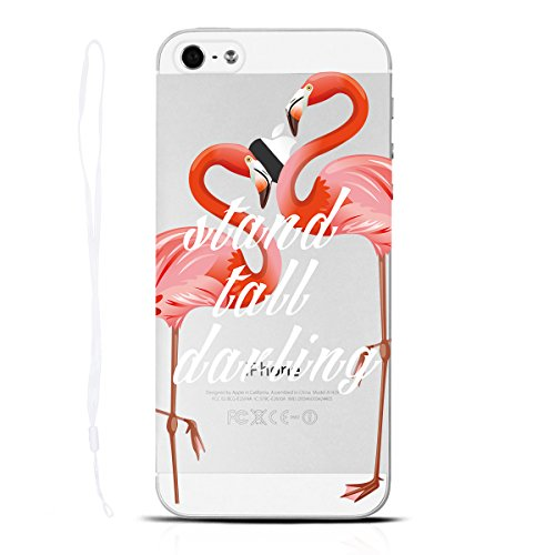 Yokata iPhone SE / iPhone 5 / iPhone 5s Hülle Transparent Case Soft Slim Flexible Silikon TPU Bumper mit Durchsichtig Hart Backcover Clear Ultra Dünn Schlank Schön Handyhülle Premium Kratzfest Schutzh Flamingo