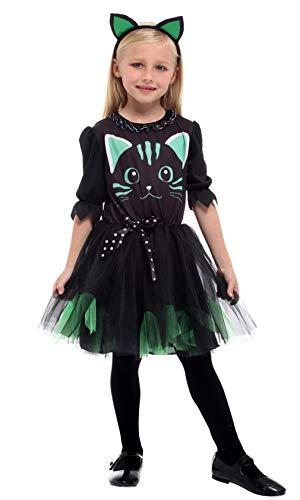DEMU Mädchenkostüm Kätzchen Katzenkostüm Halloween Kostüm Haarreif Fasching (Large)