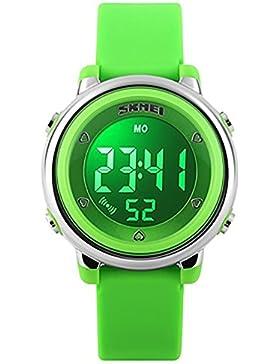 SKMEI Kinder Outdoor Sportlich Digitaluhr 7 LED Licht Datum Wecker Kalender Armbanduhr Schüler Jungen Mädchen...