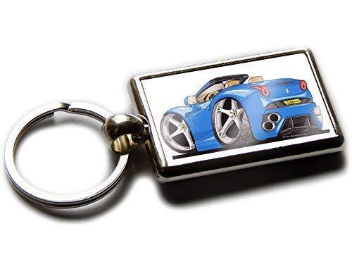 Koolart Ferrari California Rear View Sport Auto Chrom Schlüsselanhänger Bild beiden Seiten, blau