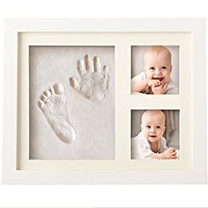 CHARMING BABY HANDPRINT and Footprint Frame Kit - Baby Keepsake Preserves Priceless Memories - Non Toxic and Safe Clay - Quality Wood Frame with Safe Acrylic Glass - Great Baby Gift For Baby Registry