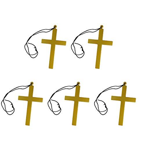 Amosfun 5 stücke Goldenen Kunststoff Kreuz Halskette Priester Mönch Kruzifix Kostüm Zubehör für Halloween Kostüme