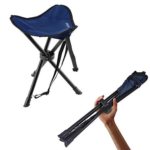 OUTAD Klapphocker faltbar, Dreibeinhocker/ Tripod aus Stahl, Camping-Stuhl leicht stabil,mit Tragkraft bis zu 120KG, für Camping Trekking Wandern Outdoor, kleines Packmaß(Blau)