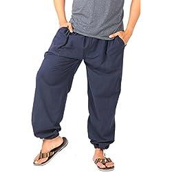 CandyHusky de la 100% algodón Casual Deportivo para Lounge pijama pantalones de yoga pantalones elasticed cintura con cordón azul azul oscuro S/M/L
