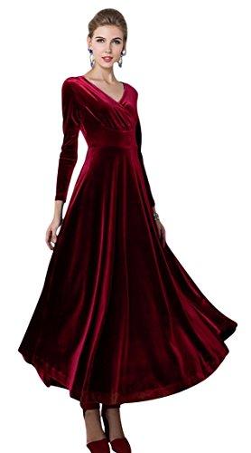Urbancoco Damen Lange Langarm Abendkleid Maxi V-Ausschnitt Samt Party Kleid (M, weinrot)