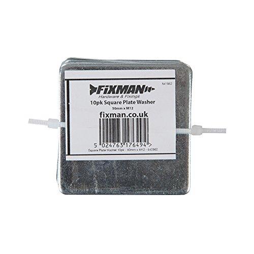 Fixman 542862 Quadratische Unterlegscheiben, 10er-Pckg. , Silber