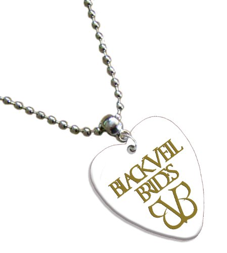 Black Veil Brides Hot Foil on White Love Heart Pick Kette Plektron Black Veil Brides-instrumente
