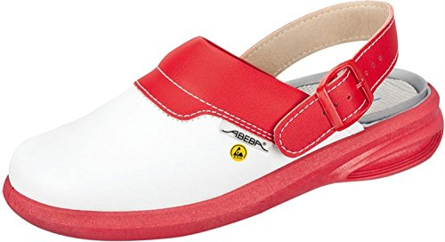 Abeba 37623-43 Easy Chaussure sabot ESD Taille 43 Blanc/Rouge