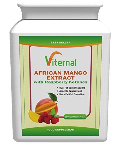 Viternal Lot de 60pilules amaigrissantes à l'extrait d'irvingia gabonensis (mangue africaine), framboise, cétone et autres ingrédients 1750mg Complément minceur et coupe-faim Pour femmes & hommes