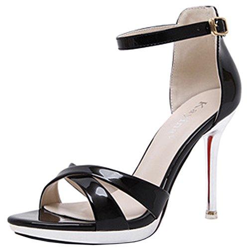 a228090cb8f2d6 Oasap Damen Offen High Heels CrossRiemen Sandalen Black -klens-haiger.de