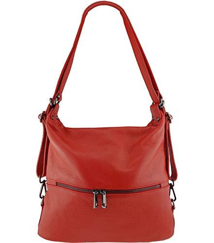 Freyday 2in1 Handtasche Rucksack Designer Luxus Henkeltasche aus 100% Echtleder (Rot)
