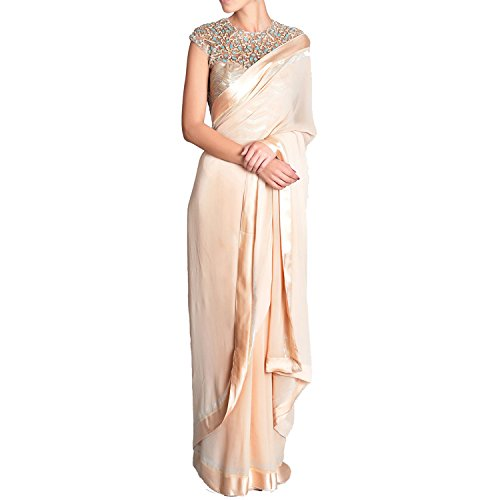 House of Zii Women's Silk and Georgette Solid Saree with Blouse Piece...